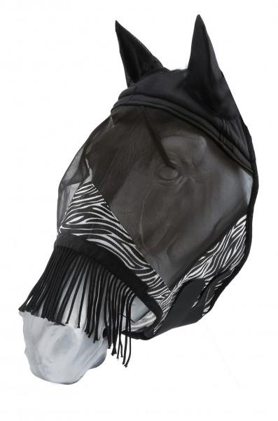 Fliegenmaske Zebra mit Fransen
