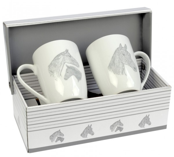 2 Tassen Stute und Fohlen im Geschenkkarton